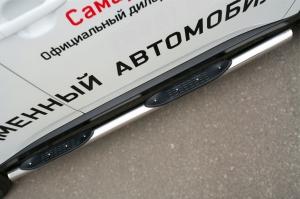 Mitsubishi Outlander 2014- Пороги труба d76 с накладкой (вариант 3) MORT-001898